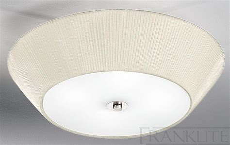Franklite Cream Pleated Fabric Shade Large Flush Ceiling