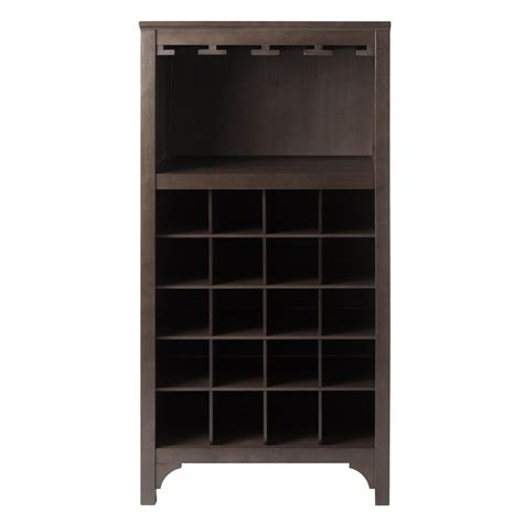 wine glass cabinet rack amazon com winsome ancona wine cabinet with glass rack
