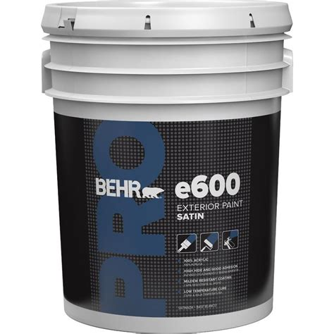 Behr Pro 5 Gal E600 White Satin Enamel Exterior Paint