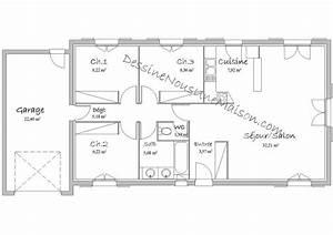 Maison 120m2 Plain Pied : plan maison plain pied 3 chambres 120m2 mam menuiserie ~ Melissatoandfro.com Idées de Décoration