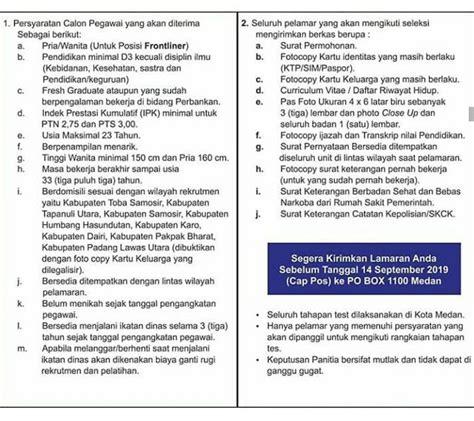 lowongan kerja  pt bank sumut medan september