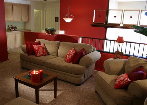 Red Accent Wall Living Room