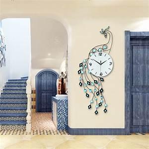 Fashion Luxury Peacock Wall Clock Modern Design Europe