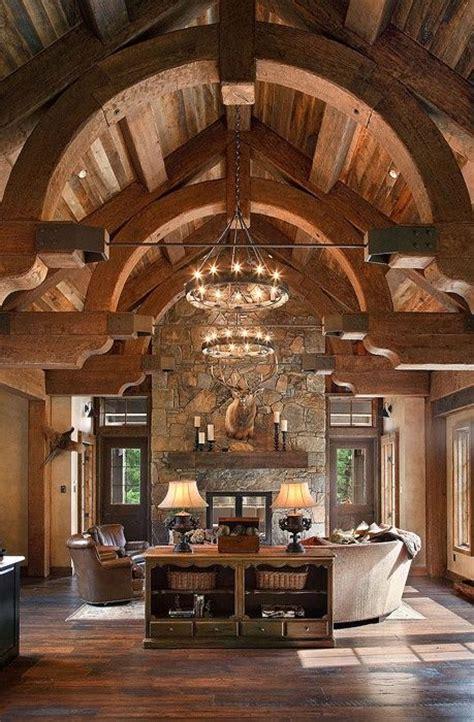 timber frame vaulted ceiling  barrel vault beams log