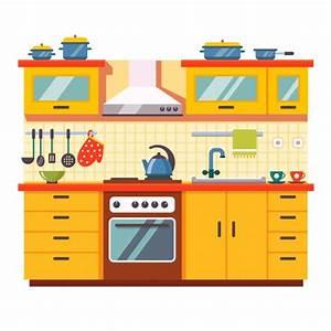 Kitchen wall interior Vector Free Download