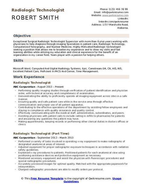 Radiologic Technologist Resume by Radiologic Technologist Resume Sles Qwikresume