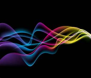 Colorful Abstract Waves on Black Background Vector Graphic ...