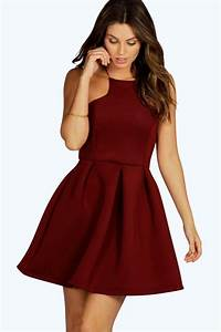 carry bonded scuba cutaway skater dress at boohoocom With robe patineuse femme
