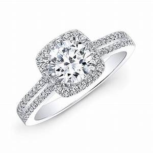 18k white gold split shank square halo diamond engagement With engagement ring with double wedding band