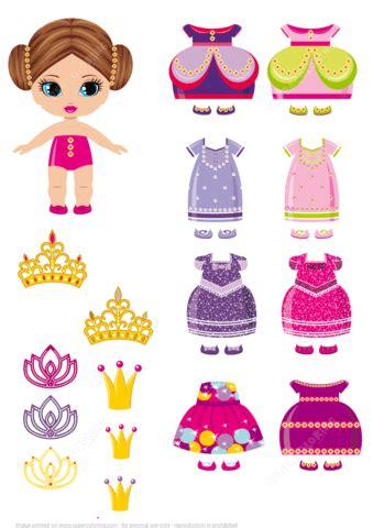 princess paper doll   set  royal dresses