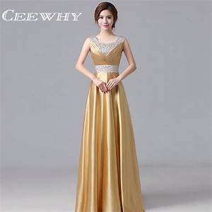 aliexpresscom buy ceewhy satin gold evening dress long With robe de soirée orange