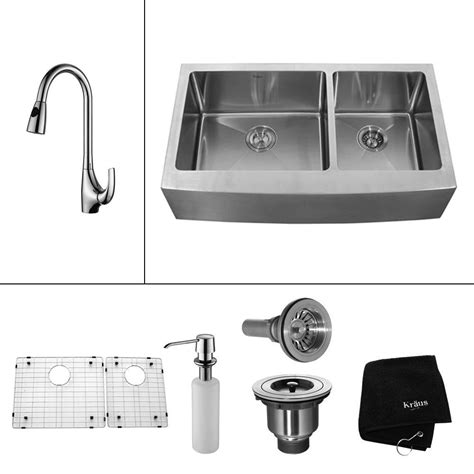 kitchen sink with apron kraus all in one farmhouse apron front stainless steel 33 6038