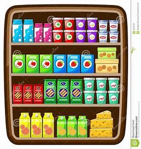 Supermarket. Shelfs With Food. Vector Illustration ...