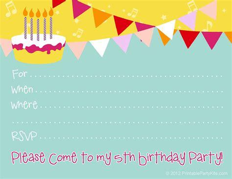 5th birthday invitation card template pin by carla chadwick on printables free birthday