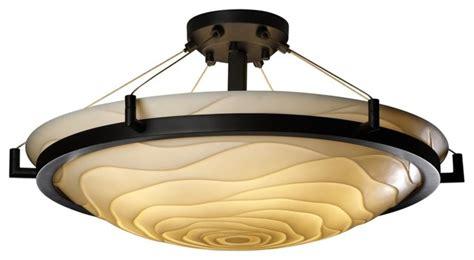 asian porcelina wavy black 20 1 2 quot wide ceiling light