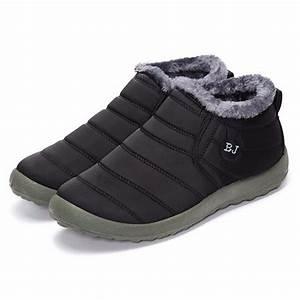 women ladies warm fur lining flat slip on ankle boots With letter warm fur lining flat slip on ankle boots