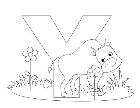 Animal Alphabet Letter Y Is For Yak! Coloring Page