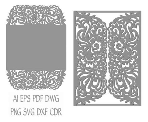 gate fold wedding invitation laser cut card pattern