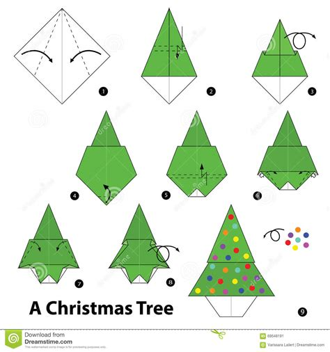 step bystep how to make origami a tree stock vector image 69548191