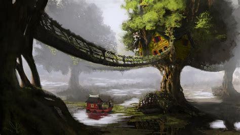 fantasy art artwork digital art nature trees bridge