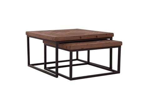 table basse gigogne industriel carr 233 avec plateau en orme massif et
