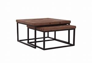 table basse gigogne industriel carre avec plateau en orme With table basse orme massif
