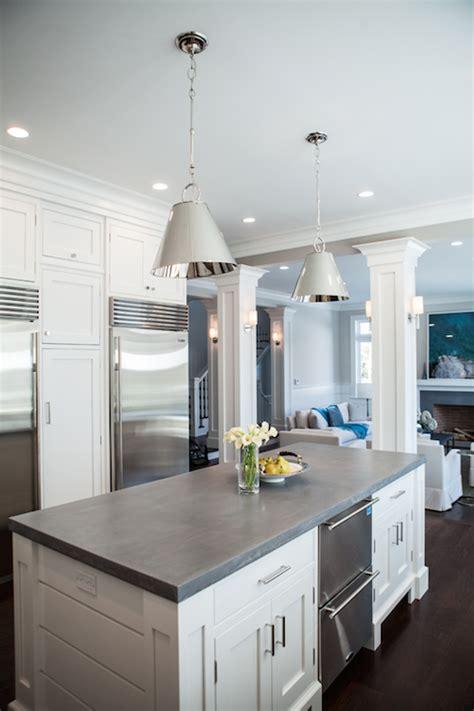 kitchen island  concrete countertop transitional