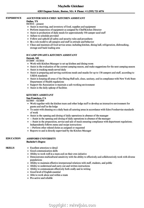 Kitchen Staff Titles by Simple Resume Sle For Kitchen Staff Kitchen Assistant