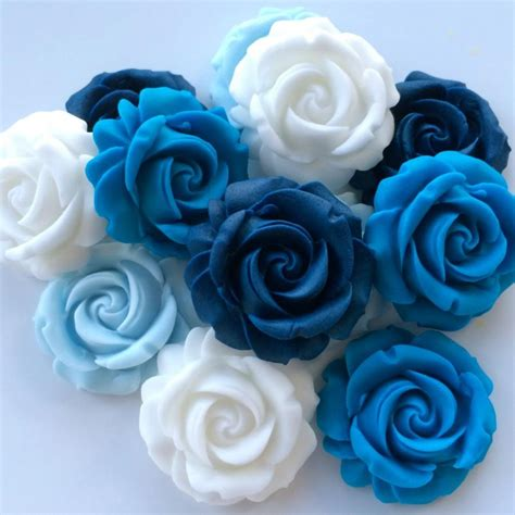 blue white roses edible sugar paste flowers wedding
