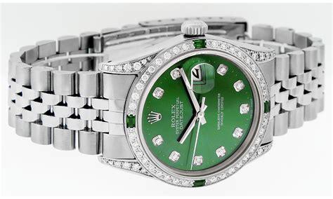 Rolex Mens Stainless Steel Green Diamond & Emerald ...