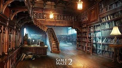 Library Fantasy Wallpapers Magic Maze Desktop Biblioteca