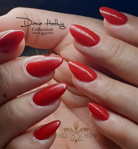 almond red nails   nails shellac beauty