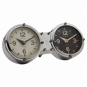 Metal dual time desk or wall clock quality cast aluminum for Dual time wall clock
