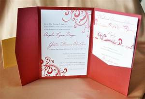 red swirl with gold accents pocketfold wedding With red cream and gold wedding invitations