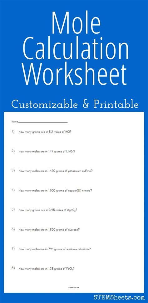 worksheets mole calculation worksheet waytoohuman free