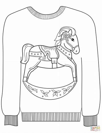 Sweater Ugly Coloring Christmas Horse Pages Rocking