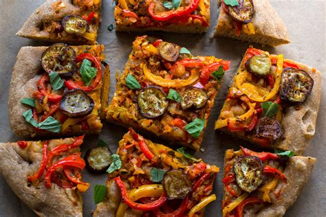 wheat focaccia  peppers  eggplant recipe