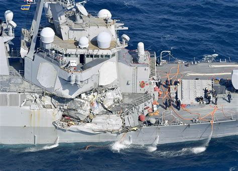 Ship Collision by 7 U S Sailors Unaccounted For After Navy Destroyer