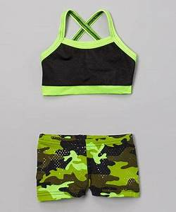 Green sports bras Camo shorts and Short girls on Pinterest
