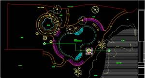 Beach Pond With Floor Plans 2D DWG Design Plan for AutoCAD
