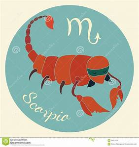 Gullig Zodiak Undertecknar Symbolen Scorpio Vektor