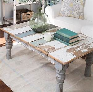 Distressed painted coffee table coffee tables for Distressed wood coffee table set