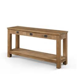 long and narrow oak console table with storage and drawer