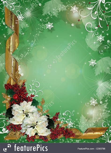 christmas border ribbons  poinsettias illustration