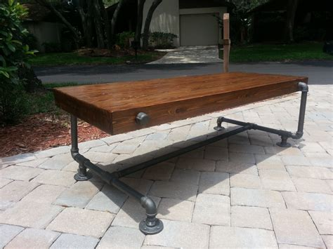 30067 black pipe furniture newest industrial iron pipe cedar wood coffee table unique design