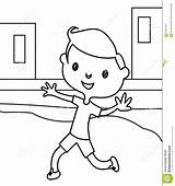 Coloring Running Boy Little Cute Playing Happy Smiling Hand Illustration Children Preview sketch template