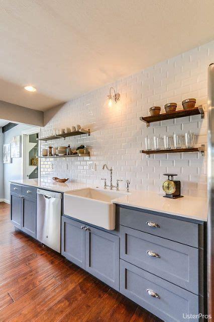 gray cabinets open shelving farmhouse kitchen home