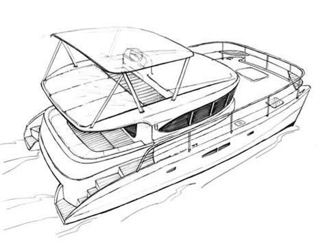 Catamaran Drawing by Power Cat Rb 38 Hand Drawings