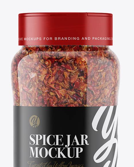 Present your design on this mockup. Red Paprika Spice Jar Mockup in Jar Mockups on Yellow ...