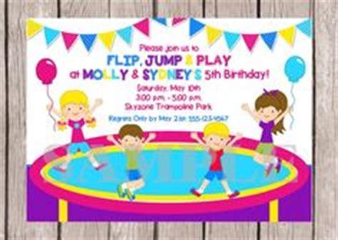 trampoline park jump birthday party invitation henrys
